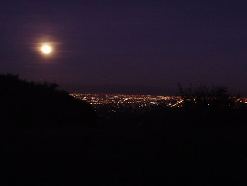 The silicon valley in moon- and artificial light.